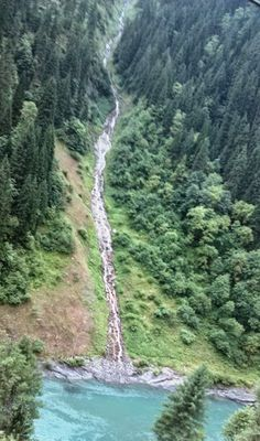 A waterfall near Kel, Neelum Valley, Azad Kashmir, a beautiful valley with number of waterfalls and streams, having lush green views of pine trees. Pakistani Culture, Azad Kashmir, Hill Station, Lush Green, Places To Travel, Tourism, Kashmir Pakistan, Photo Galleries, Scenery