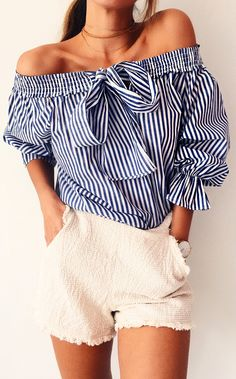 #cute #outfits  Navy Striped Off Shoulder Blouse / Cream Short