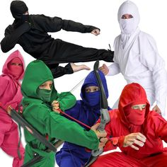 Authentic Ninja Uniforms in Many Colors for Kids and Adults! Ninja Uniform, Ninja Suit, Ninja Mask, Ninja Gear, Real Ninja, Shuriken, Karate Girl, Kids Suits, Diy Mask