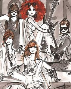 Rock Girls Bandillos- exclusive canvas wall art by Izak Zenou for Wheatpaste Art Collective. $159 & perfect as teenage room decor for the glamorous girl!