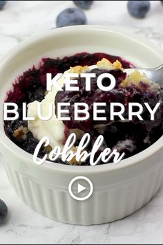 Keto Blueberry Cobbler by I Breathe I'm Hungry. This low carb blueberry cobbler recipe makes the most of summer flavors, while still fitting into your keto diet! Pin made by Overhead Pro. #Keto #Cobbler