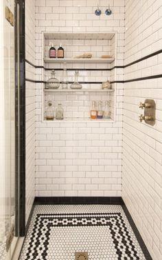 Post: Piso de estilo escandinavo en Barcelona --> baño vestidor, encimera de madera, estilo art deco, estilo escandinavo, reforma piso, cocina blanca, cocina nórdica, scandinavian kitchen, vintage, new york, encimera de madera, white kitchen, interior design, spanish style decor, scandinavian interiors, spanish interiors, home decor, interior styling #kitcheninteriordesignvintage #homeinteriordesign Bad Inspiration, Bathroom Inspiration, Art Deco Bathroom, Design Bathroom, 1920s Bathroom, Bathroom Vintage, Bathroom Layout, Art Deco Kitchen, Bath Design
