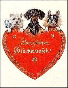DACHSHUND & Friends Red HEART Unique by VintageDachshundArt