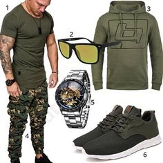 Olivgrünes Herren-Outfit mit Military Joggpants (m0567) #outfit #style #fashion #ootd #männer #herren #outfit2017 #outfit #style #fashion #menswear #mensfashion #inspiration #shirt #cloth #clothing #styling #sneaker #menstyle #inspiration