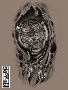by tylerrthemesmer tattoos tiger tattoo, tiger tat Tiger Tattoo Sleeve, Elk Tattoo, Sleeve Tattoos, Skin Tear Tattoo, Ripped Skin Tattoo, Wolf Tattoos, Animal Tattoos, Body Art Tattoos, Japanese Tiger Tattoo