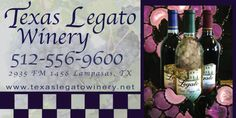 Texas Legato Winery is a family owned and operated winery located in the northern part of the scenic Texas Hill Country in Lampasas.  Legato means a gathering together of family or friends.  We hope you will join our family of friends. Legato is also a musical term for smooth and connected notes or performance.  Please come meet us and enjoy smooth, award winning wines from Texas grown grapes. Relax in our tasting room or on our patio overlooking the vineyard.