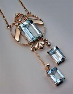Art Deco Aquamarine Vintage Negligee Pendant Necklace....... #VintageJewelry