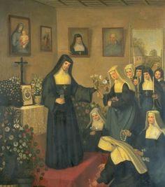 Santa Margarida Maria Alacoque e monjas visitandinas.