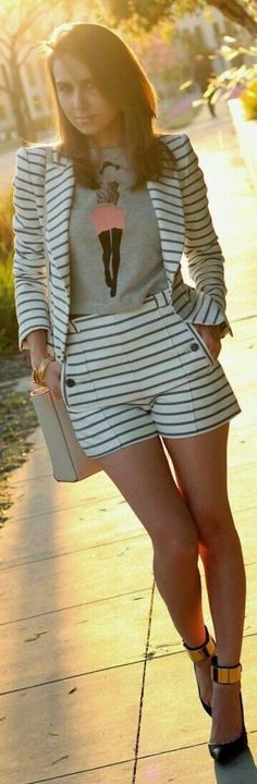 Stylish look idea 👍💋👗 Short Outfits, Cool Outfits, Summer Outfits, Casual Outfits, Casual Wear, Girl Fashion, Womens Fashion, Fashion Trends, Spring Fashion