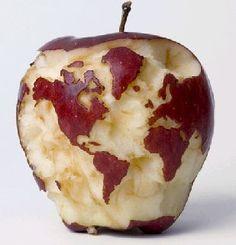 apple world map  O mundo é uma maçã!