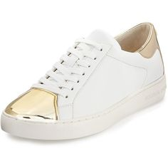 Michael Michael Kors Frankie Metallic Leather Sneaker ($135) ❤ liked on Polyvore featuring shoes, sneakers, white leather shoes, flat platform shoes, lace up flat shoes, white platform sneakers and leather shoes