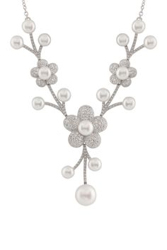6-9mm White Freshwater Pearl and Pave CZ Flower Pendant Necklace
