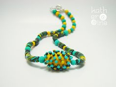 Statement jewelry, Dimensional necklace, Polymer clay jewelry, Simple dot design, Teal yellow necklace, Original necklace, Unique gift idea - pinned by pin4etsy.com
