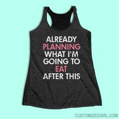 Workout Funny Workout Tanks - Already planning what I'm going to eat after this workout! Funny fitness tank tops to hit the gym in. I run for the food. Snap up a cute fitness tank to wear next time you hit the gym. Funny Workout Shirts, Workout Humor, Workout Tank Tops, Workout Gear, Funny Shirts, Funny Running Shirts, Gym Humor, Workout Sayings, Running Tanks
