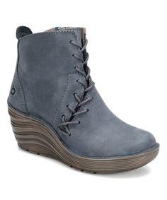 Another great find on #zulily! Denim Blue Corset Leather Bootie #zulilyfinds