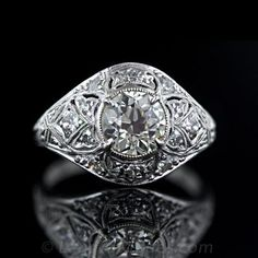 Art Deco 1.52 Carat Diamond Engagement Ring - 10-1-2517 - Lang Antiques
