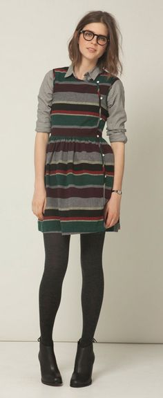 steve alan fall 2011/ button up under a striped sleeveless dress/black opaque tights/black booties/dark jewel tones