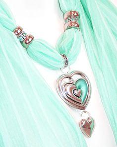 Scarf Jewelry Scarves With Pendants by RavensNestScarfJewel, $22.00