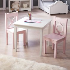 Have to have it. Lipper Hugs and Kisses Table and 2 Chair Set - White & Pink - $129.99 @hayneedle.com