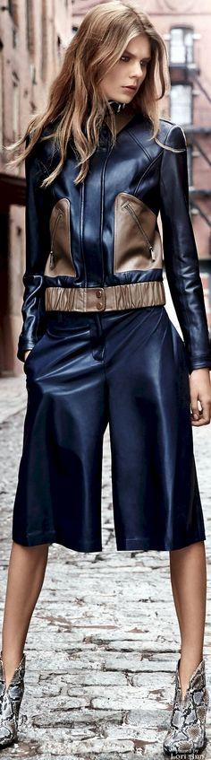 Diane von Furstenberg Pre-Fall 2016; Loving this modern take on capris and moto jacket; I am anticipating a damn good fall fashion season