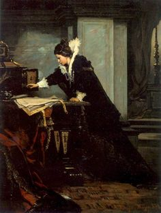 Queen Elizabeth signing the Death Warrant of Mary, Queen of Scots (1879). Sándor Liezen-Mayer (Hungarian, 1839-1898). Oil on canvas. Magyar Nemzeti Galéria, Budapest. Mary was convicted of treason....
