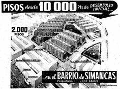 Anuncio del barrio de Simancas. Enero 1960. Foto Madrid, Posters, Twitter, Saints, Home, The Neighborhood, City, Poster, Billboard