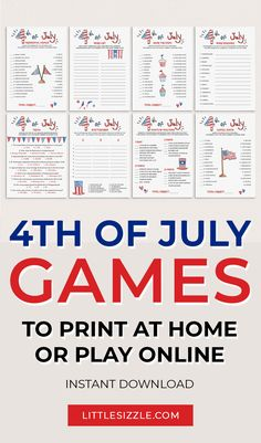 4th Of July Games To Print at Home or Play Online over Zoom by LittleSizzle. Are you hosting a Fourth of July party for family and friends? This fun Fourth of July games pack with 8 games will help you create lasting memories. The patriotic games will be the perfect addition to your Fourth of July party. Simply download and print at home or play online over Zoom or Facebook. #4thofjulypartyideas #4thofjulydecor #4thofjulygames #virtual4thofjulygames #4thofjulygamesforadults #printable…