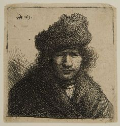 Circle of Rembrandt van Rijn – Self-Portrait, with Fur Cap and Robe, 1631, Etching | Harvard Art Museums