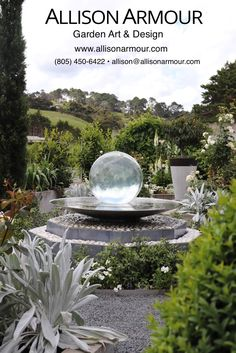 The Aqualens in a gorgeous New Zealand garden! Want to add more flare and magic to your garden? Order the Aqualens today! allisonarmour.com #spherefountain #contemporaryfountain #modernwaterfeature #ballfountain #gardendesign #gardenart #garden Backyard Garden Design, Ponds Backyard, Garden Landscape Design, Garden Art, Backyard Waterfalls, Garden Ponds, Koi Ponds, Garden Ideas, Modern Water Feature
