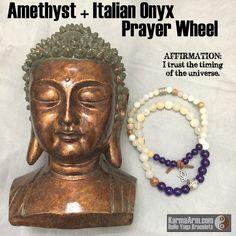 gemstone mala yoga bracelet - Om Mani Padme Hum Prayer Wheel: Amethyst + Onyx Yoga Mala Bead Bracelet/Stack of 2 - Karma Arm. - 4