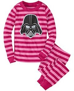 Love that Hanna Andersson includes multiple colors of Darth Vader pajamas in their girls department. Here is the pink, but they also have a red and black stripe. Because some girl Star Wars fans like pink and some don't. Sizes 2-14.