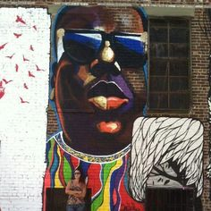 Danielle Mastrion's Notorious B.I.G mural on Troutman & St. Nicholas ave in Bushwick, Brooklyn