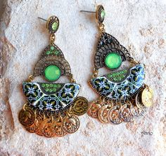 Portugal Antique Azulejo Tile Replica Earrings from ARADA - Green (see photo of actual Facade) Bohemian Gypsy Persian Tribal Boho