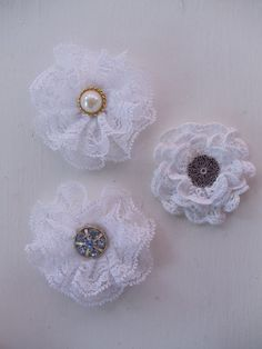 Handmade flowers from lace at Scrapbook.com
