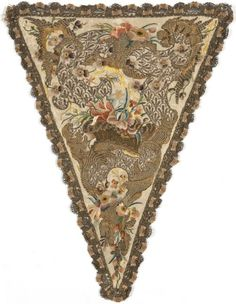 Satin stomacher with silk and gold embroidery, French, 1730-1740.