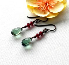 Green and Red Swarovski Crystal Earrings Christmas by APerfectGem