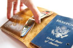 Leather Passport Wallet in Distressed Honey by RobbieMoto on Etsy