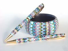 Bangle and 2 Pens in Rorschach Sheet Pattern by Carol Blackburn