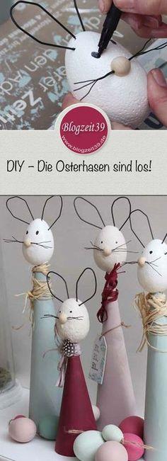 Ich zeige Euch, wie man diese tollen Osterhasen basteln kann. Mein DIY zu Ostern | Die Osterhasen sind los! #diy #ostern #basteln #hasen #osterhasen