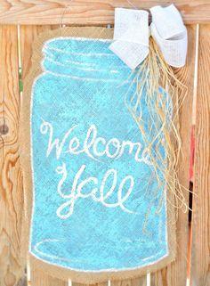 DIY Mason Jar Burlap Door Hanger Idea....