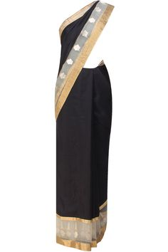 Black and gold flower motifs handwoven saree available only at Pernia's Pop Up Shop.
