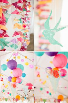 Love this colorful DIY concept using lots of paper decorations, found on Couture Colorado.