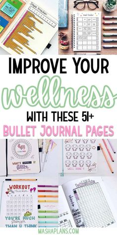 Bullet Journal pages to help you monitor your health and achieve your wellness goals. #mashaplans #bulletjournal #habittracker #freeprintables #health #wellness #pageideas