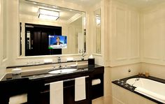 A mirror tv so you can get ready in the morning as well as watch the news.