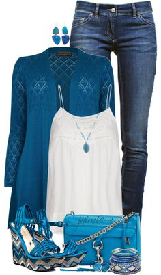 """""""Tribal Wedges, Skinny Jeans & Crochet Trim Top"""" by jaimie-a ❤ liked on Polyvore"""