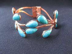 """Vintage Matisse Renoir Turquoise """"Topkapi"""" Copper Clamper Bracelet @Zuburbia elegant lines, copper plus turquoise is divine."""