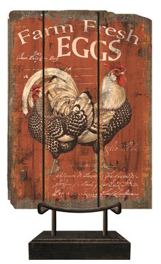Country Decor Red Chicken Tabletop Sign | M Home Decor
