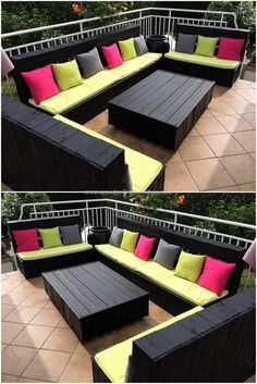 Design your balcony or terrace in elegant style by re-claiming wood pallets. We have crafted excellent black colored sofa to decor outdoor area marvelously. This creatively crafted wood pallet furniture sofa provides exceptional sitting style for your out Diy Wood Pallet, Diy Pallet Sofa, Diy Pallet Projects, Wooden Diy, Wood Pallets, Pallets Garden, Free Pallets, Pallet Seating, Pallet Bench