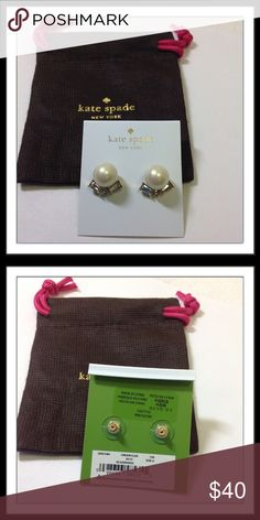 """SALE Kate Spade ♠️Pearl & Crystal Studs Darling earrings for dress or casual wear. Faux pears, gold plated metal. 14-karat gold filled posts. Width 1/2"""", drop 1/2"""" Includes dust bag.   Trades  Holds kate spade Jewelry Earrings"""