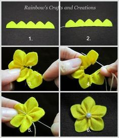 Crafts and creations of the rainbow: how to make simple felt flowers . - Kleine geschenke - Crafts and creations of the rainbow: how to make simple felt flowers – flowers - Felt Flowers Patterns, Making Fabric Flowers, Cloth Flowers, Flower Making, Diy Flowers, Felted Flowers, Flowers Nature, Felt Diy, Felt Crafts
